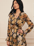 Floral Print V-Neck Dress, Black