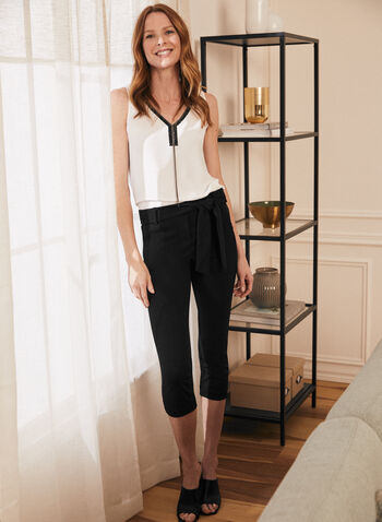 Embellished V-Neck Blouse, Off White,  blouse, sleeveless, v-neck, embellished, crepe, stretchy, chain, spring summer 2020