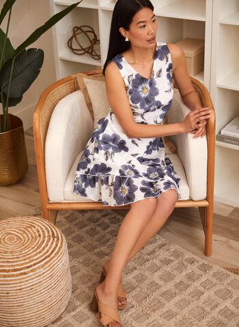 Charlie B - Cotton Gauze Ruffle Dress, Blue,  spring summer 2021, v neck, no sleeves, ruffles, diagonal