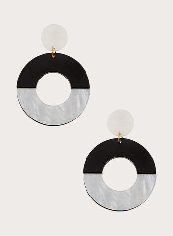 Boucles d'oreilles étagées à anneaux bi-ton, Noir, hi-res
