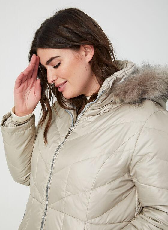 Manteau matelassé à capuchon amovible, Blanc cassé