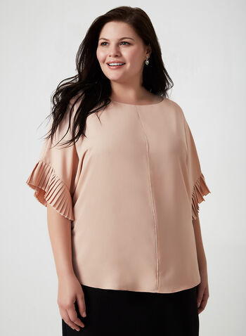 Pleated Sleeve Blouse, Pink,  3/4 sleeves, crepe, Fall winter 2019