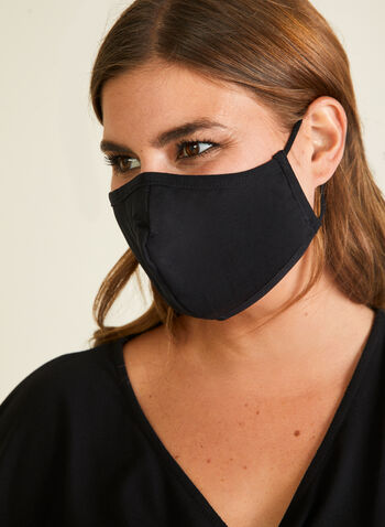 Bright Safe Care - Monochrome Mask, Black,  mask, cotton, protective, antibacterial, reusable, washable, adjustable, cotton, breathable, comfortable, spring summer 2020
