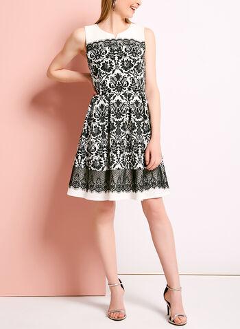 Lace Trim Floral Print Pique Dress, , hi-res