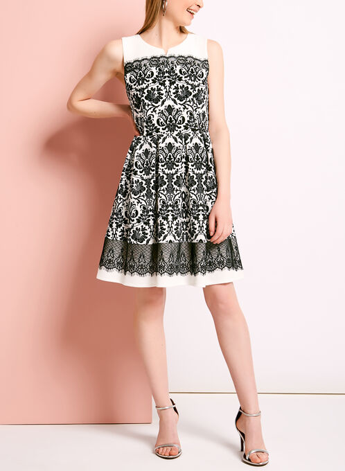Lace Trim Floral Print Pique Dress, White, hi-res