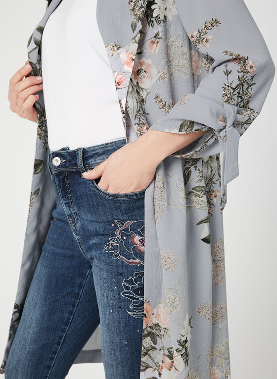 Veste longue à motif floral, Gris
