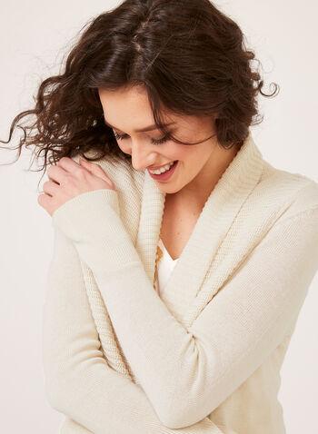 Cardigan ouvert en tricot et col châle, Blanc cassé, hi-res