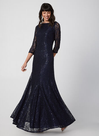 Sequin Lace Dress, Blue,  fall winter 2019, sequin lace, 3/4 sleeves, fully lined