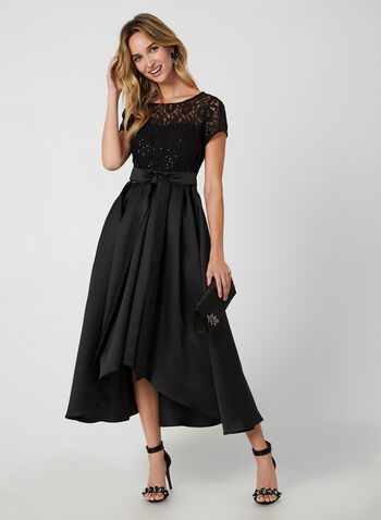 Sequin Lace Dress, Black, hi-res,  dress, cocktail dress, short sleeves, sequin, lace, mikado, fall 2019, winter 2019