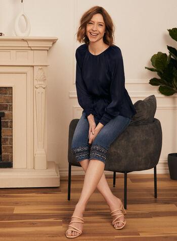 Smocked Waist Peplum Blouse, Blue,  top, peplum, smocked, blouse, long sleeves, spring summer 2021