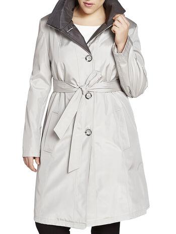 Trench-coat à col montant et capuchon détachable, Argent, hi-res