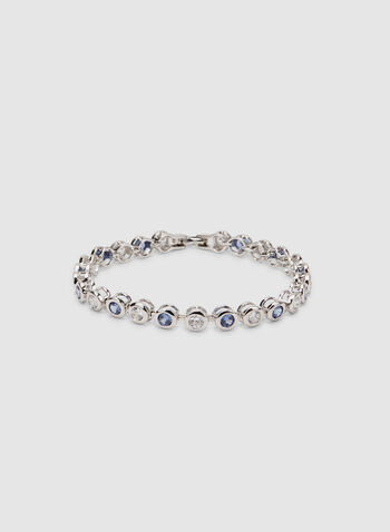 Crystal Tennis Bracelet, Blue, hi-res