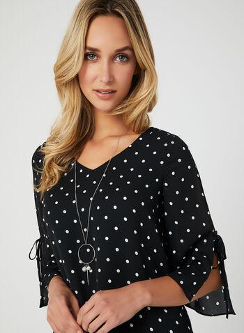 Polka Dot Print Blouse, Black, hi-res,