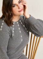 Puffed Sleeve Sweater With Pearls, Grey