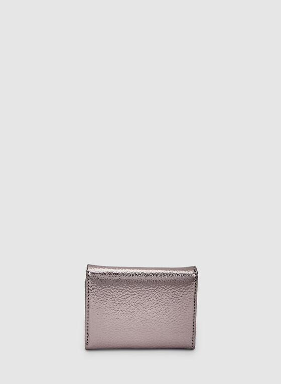 Small Metallic Wallet, Grey