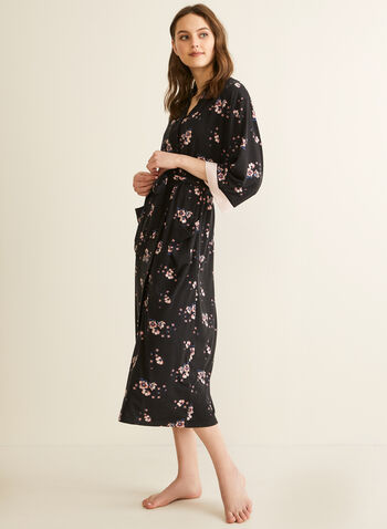 Comfort & Co. - Floral Print Robe, Black,  spring summer 2020, 3/4 sleeves, pyjama, robe, stretchy fabric