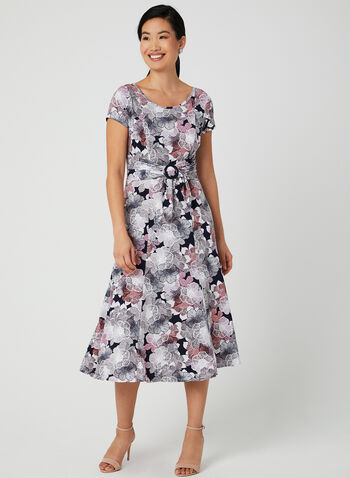 Floral Print Midi Dress, Purple,  short sleeves, cap sleeves, jersey, belted, spring 2019