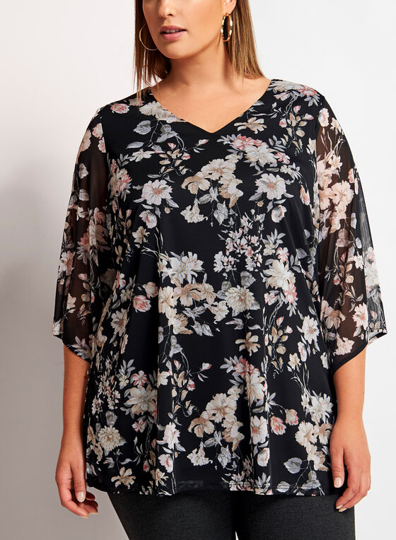Floral Print ¾ Bell Sleeve Top, Black, hi-res