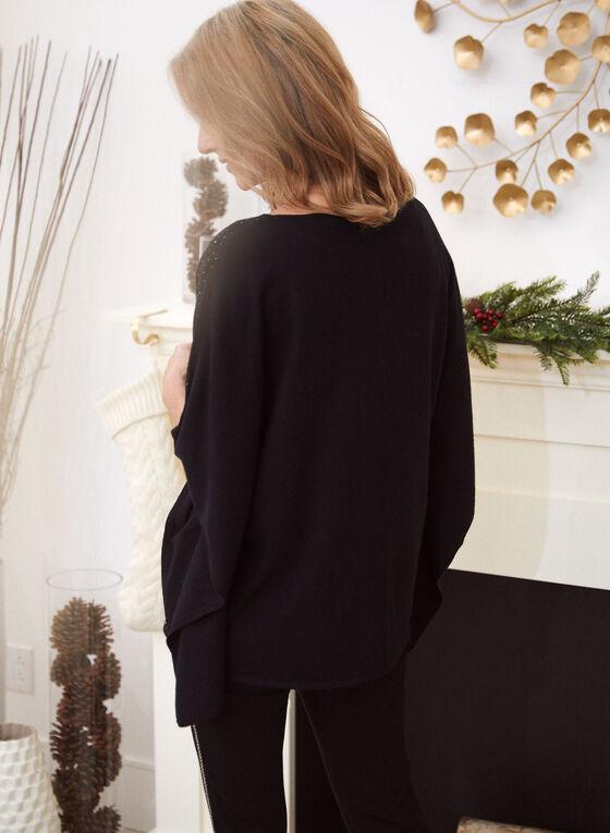 Embellished Poncho Sweater, Black
