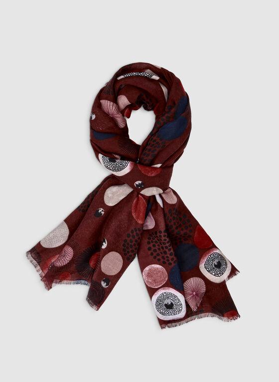 Foulard léger à motifs ronds, Rouge, hi-res
