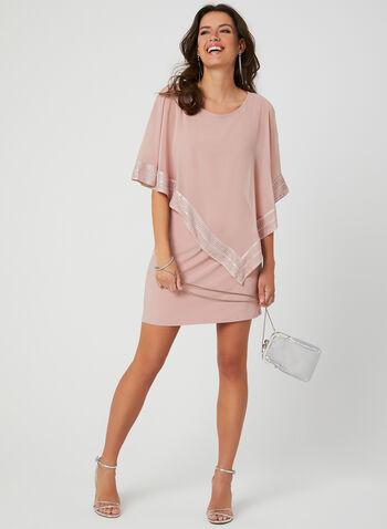 Chiffon Poncho Dress, Pink, hi-res