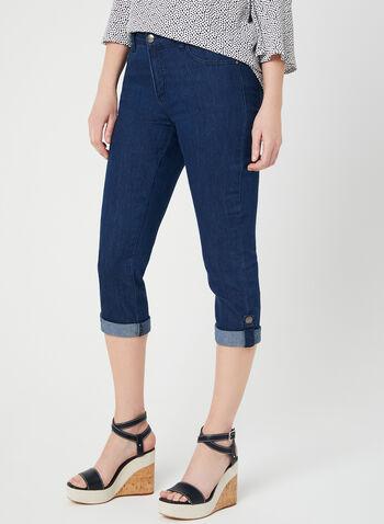 Simon Chang - Signature Fit Denim Capris, Blue, hi-res,  Spring 2019, Made in Canada, denim, jeans
