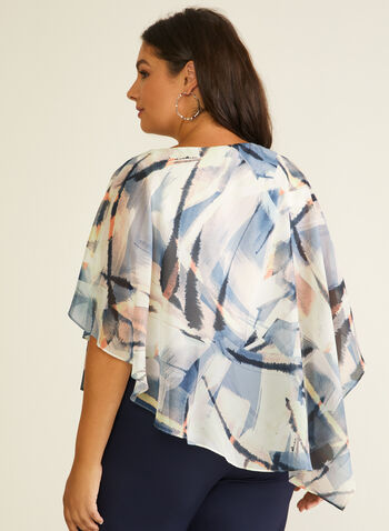 Abstract Print Poncho Blouse, White,  blouse, poncho, abstract, asymmetric, chiffon, spring summer 2020