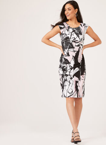 Abstract Print Faux Wrap Dress, Purple, hi-res