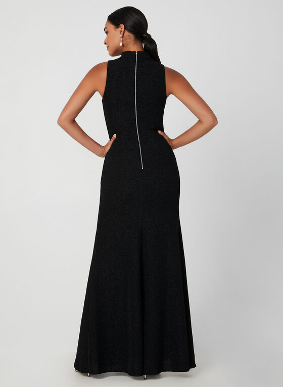 Sequined Split Skirt Dress, Black, hi-res