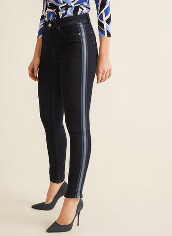 Jeans à jambe étroite et détails zippés, Bleu,  jeans, jambe étroite, zip, bande, coton, taille haute, printemps été 2020