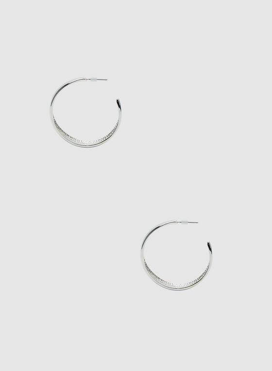 Large Hoop Earrings, Silver, hi-res