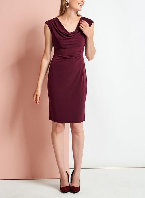 Cowl Neck Side Tuck Jersey Dress, Red, hi-res