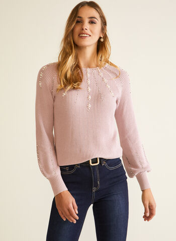 Sweater With Pearls And Rhinestones, Pink,  fall winter 2020, top, knit, sweater, slip on, pearls, stones, beaded, long sleeves, puff sleeves, textured, holiday