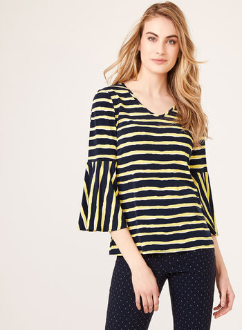 Bleeding Stripe Popover Top, Blue, hi-res