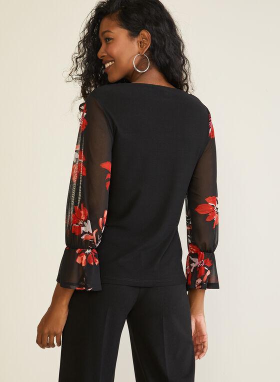 Haut à manches fleuries et ceinture ruban, Noir