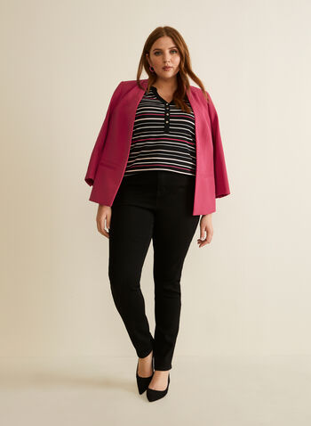 Open Front 3/4 Sleeve Blazer, Pink,  blazer, open front, long sleeves, shoulder pads, crepe, spring 2020