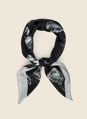 Rose Print Square Scarf, Black,  scarf, lightweight, rose print, square, fall winter 2020
