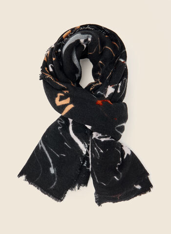 Abstract Floral Print Scarf, Black,  scarf, print, floral, abstract, acrylic, fall winter 2020