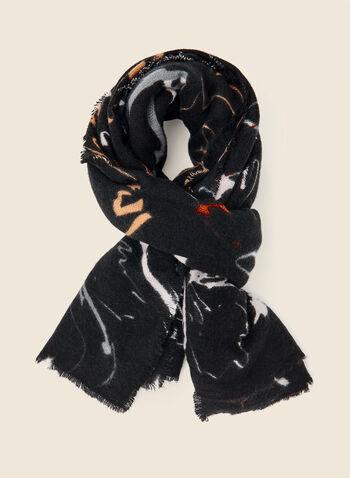 Foulard à motif floral abstrait , Noir,  foulard, motif, imprimé, floral, abstrait, acrylique, automne hiver 2020