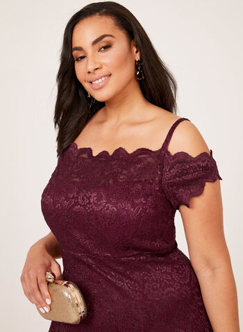Lace Fit & Flare Off The Shoulder Dress, Red, hi-res