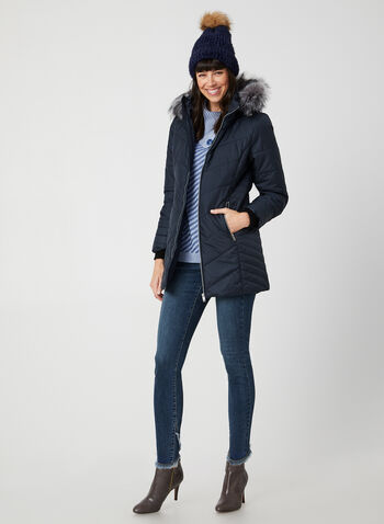 Faux Fur Trim Quilted Coat, Blue,  coat, quilted, removable hood, exposed zipper, faux fur, long sleeves, fall 2019, winter 2019