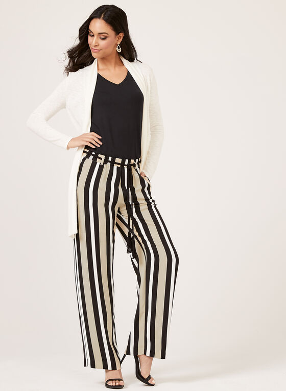 Pantalon rayé pull-on à jambe large et ceinture corde, Noir, hi-res