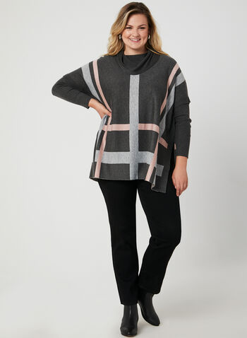 Cowl Neck Poncho Sweater, Black,  poncho, ribbed, long sleeves, cowl neck, plaid print, fall 2019, winter 2019