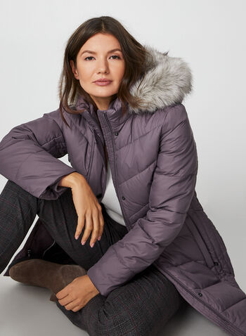 Anne Klein - Removable Hood Quilted Coat, Purple,  coat, quilted, down, feather, faux fur trim, removable hood, fall winter 2019