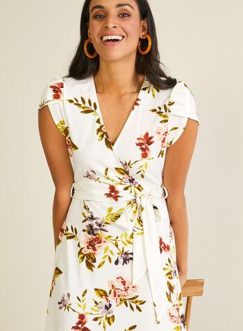 Robe fleurie à manches tulipe, Blanc,  robe de jour, manches tulipe, fleurs, ceinture, printemps été 2020
