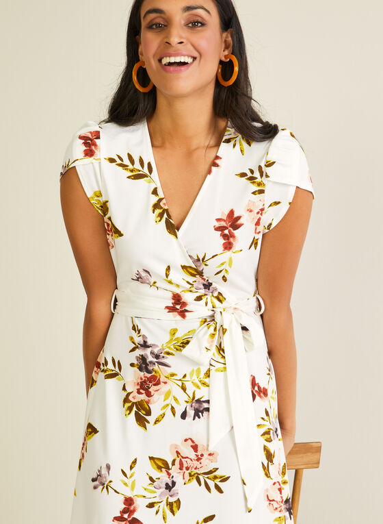 Floral Print Tulip Sleeve Dress, White
