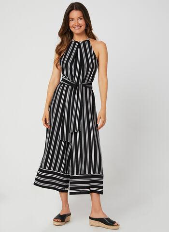 Emma & Michele - Stripe Print Jumpsuit, Black,  sash, cleo neck, sleeveless, wide leg, fall 2019, crepe