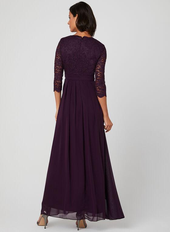 V-Neck Glitter Lace Dress, Purple, hi-res
