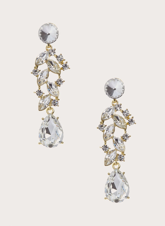 Crystal Teardrop Drop Earrings , Gold, hi-res
