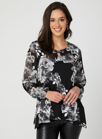 Flower Print Blouse, Grey, hi-res